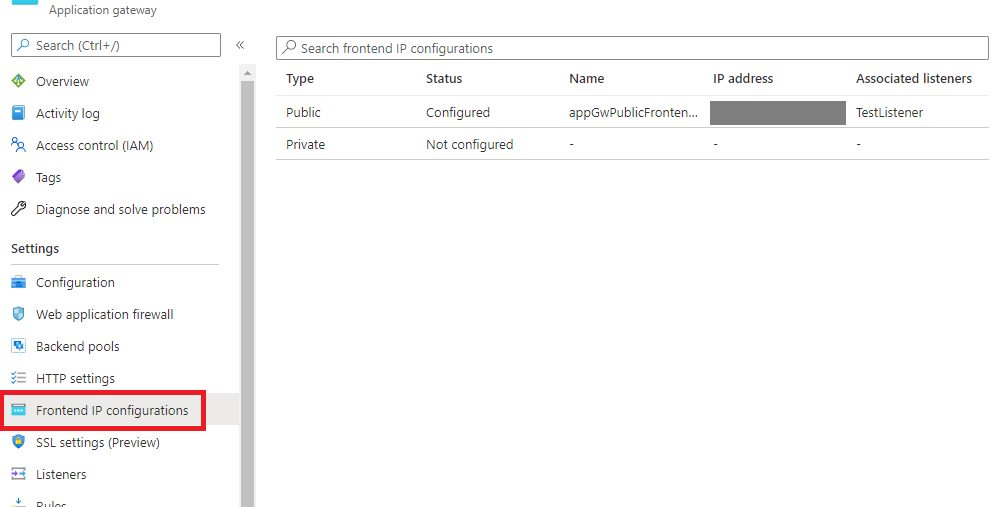 Azure Application Gateway - Frontend IP configurations