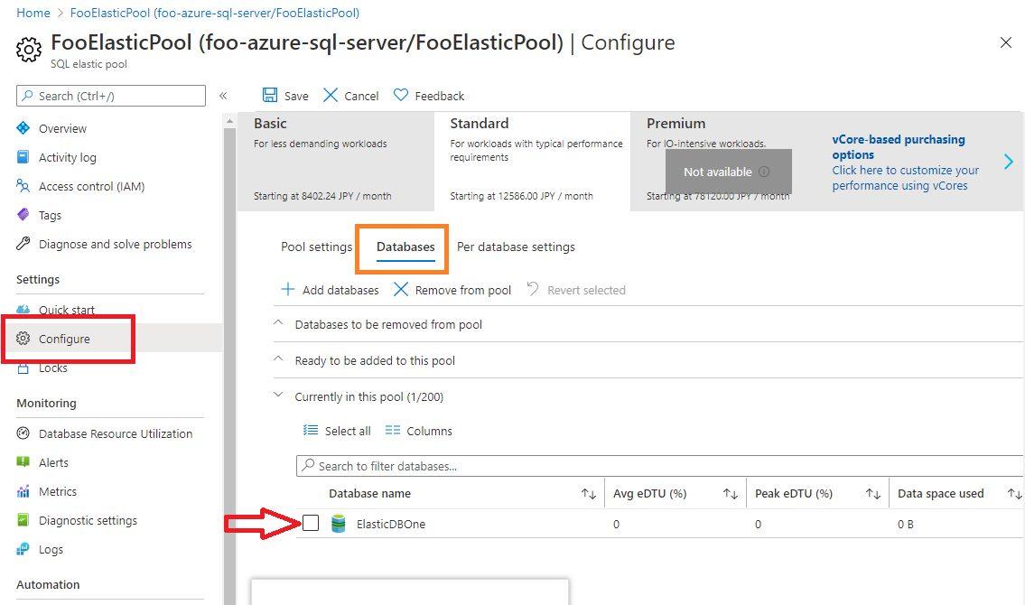 Azure SQL - Adding Database to Elastic Pool Step 5