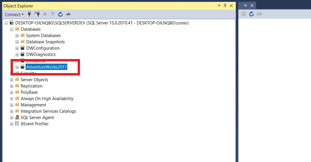 Restoring sample database from backup file using ssms Step 6
