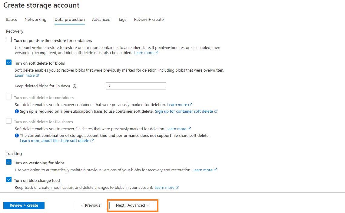Azure storage - Create BlobStorage account Step 3