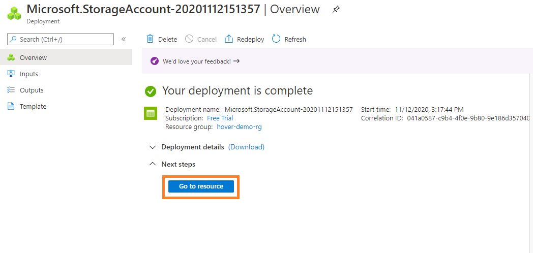 Azure storage - Create BlobStorage account Step 7