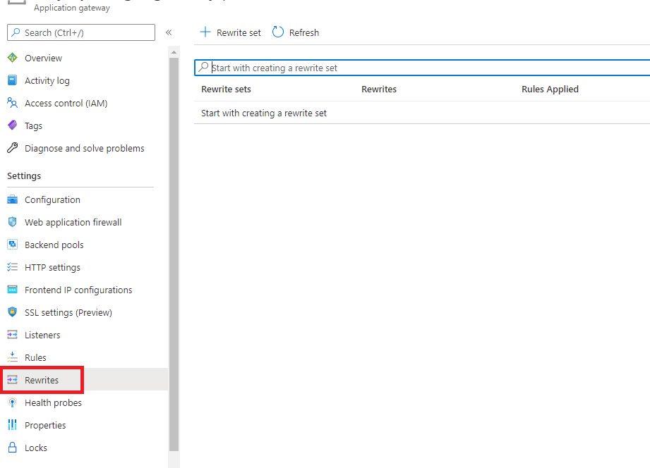 Azure Application Gateway - Rewrites