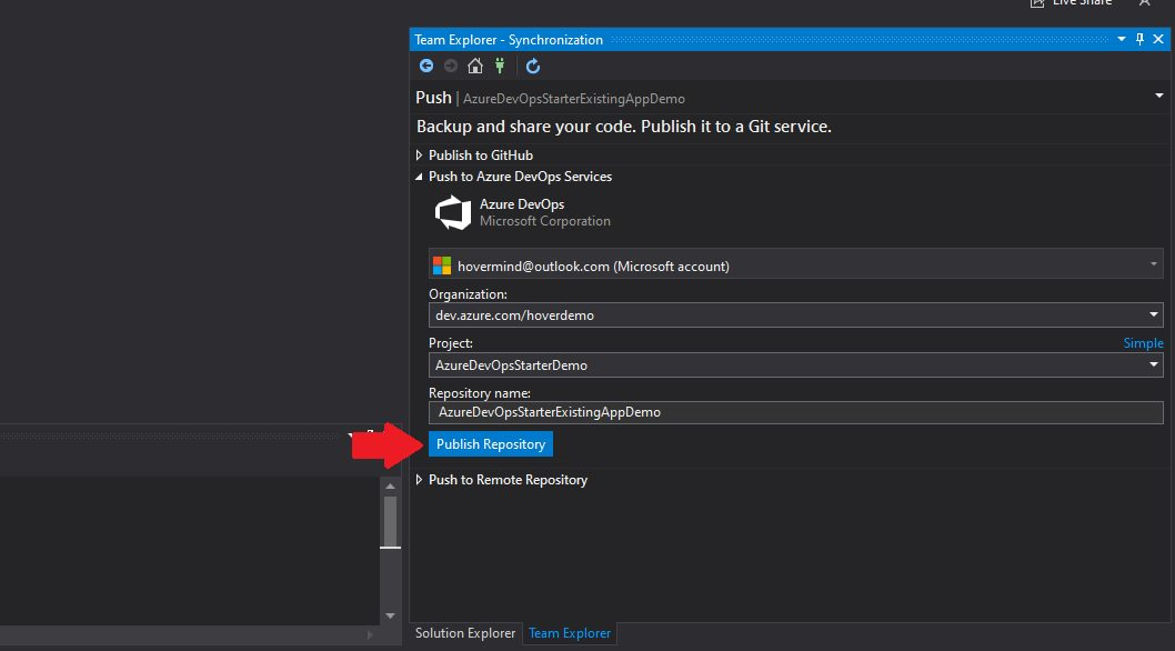 Azure DevOps - create repository from visual studio Step 5