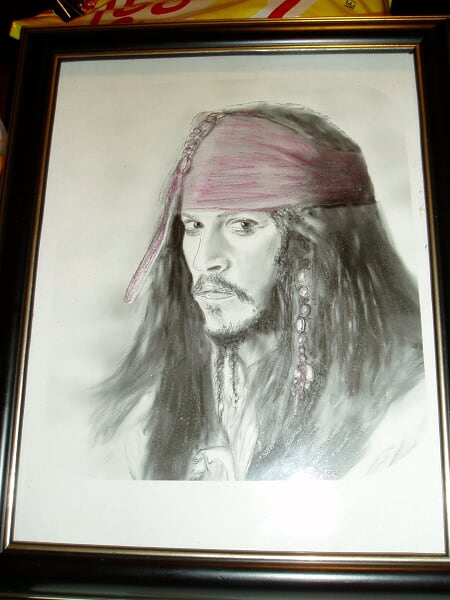 Jack sparrow glass engraving